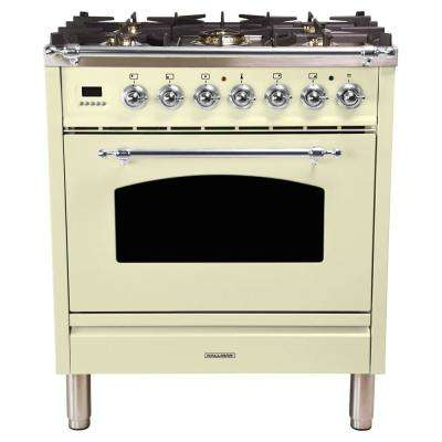 30 in 3.0 cu. ft. Single Oven Dual Fuel Italian Range with True Convection, 5 Burners, Chrome Trim in Antique White