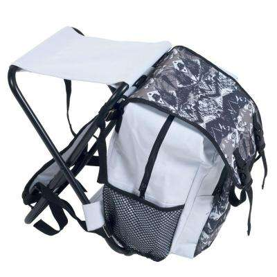 Folding Stool and Backpack Combo in White and Black