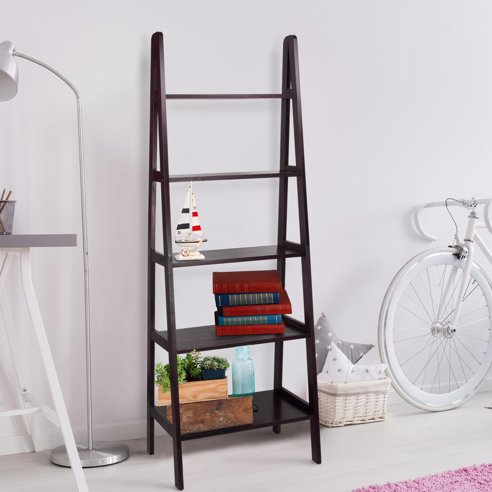 Espresso 5-Self Ladder Bookcase