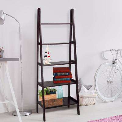 Espresso 5-Shelf Ladder Bookcase