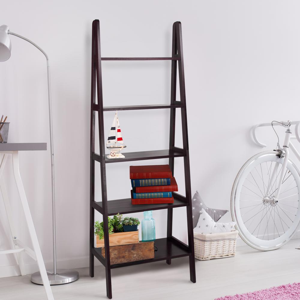 Casual Home Espresso 5-Shelf Ladder Bookcase 176-53