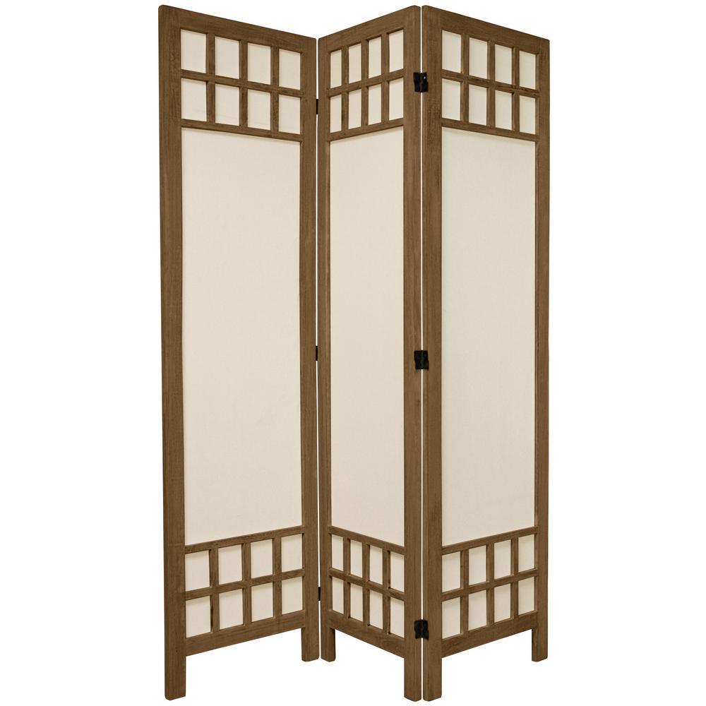 Oriental Furniture 5 Ft Burnt Grey Muslin Window Pane 3 Panel Room Divider