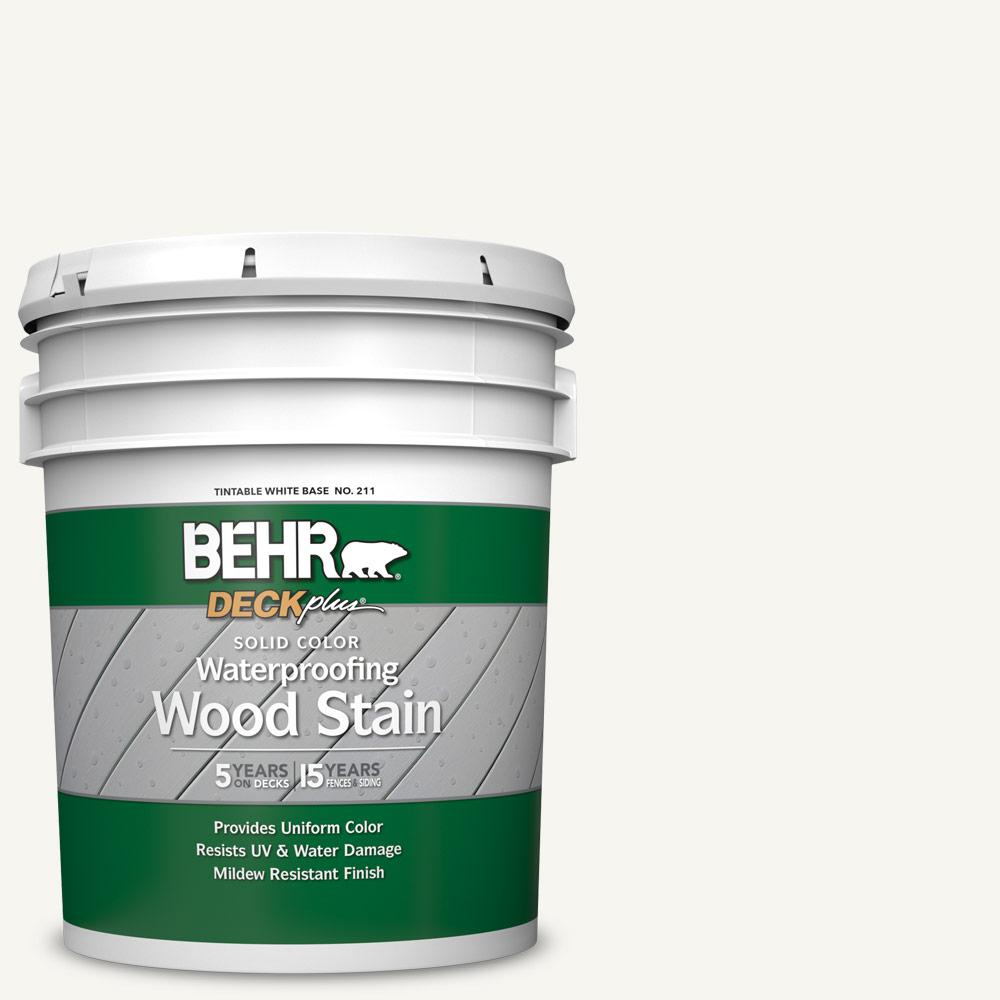 BEHR DECKplus 5 gal. #SC-210 Ultra Pure White Solid Color Waterproofing Exterior Wood Stain