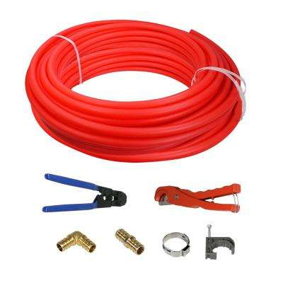 1 in. x 500 ft. PEX Tubing Plumbing Kit with Crimp and Cutter Tools Elbow Coupling Half Clamp Full Strap with Nail