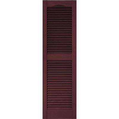 15 in. x 52 in. Louvered Vinyl Exterior Shutters Pair in #167 Bordeaux