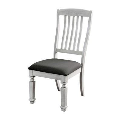 Dave Antique White Cushioned Farmhouse Dining Chair (Set of 2)
