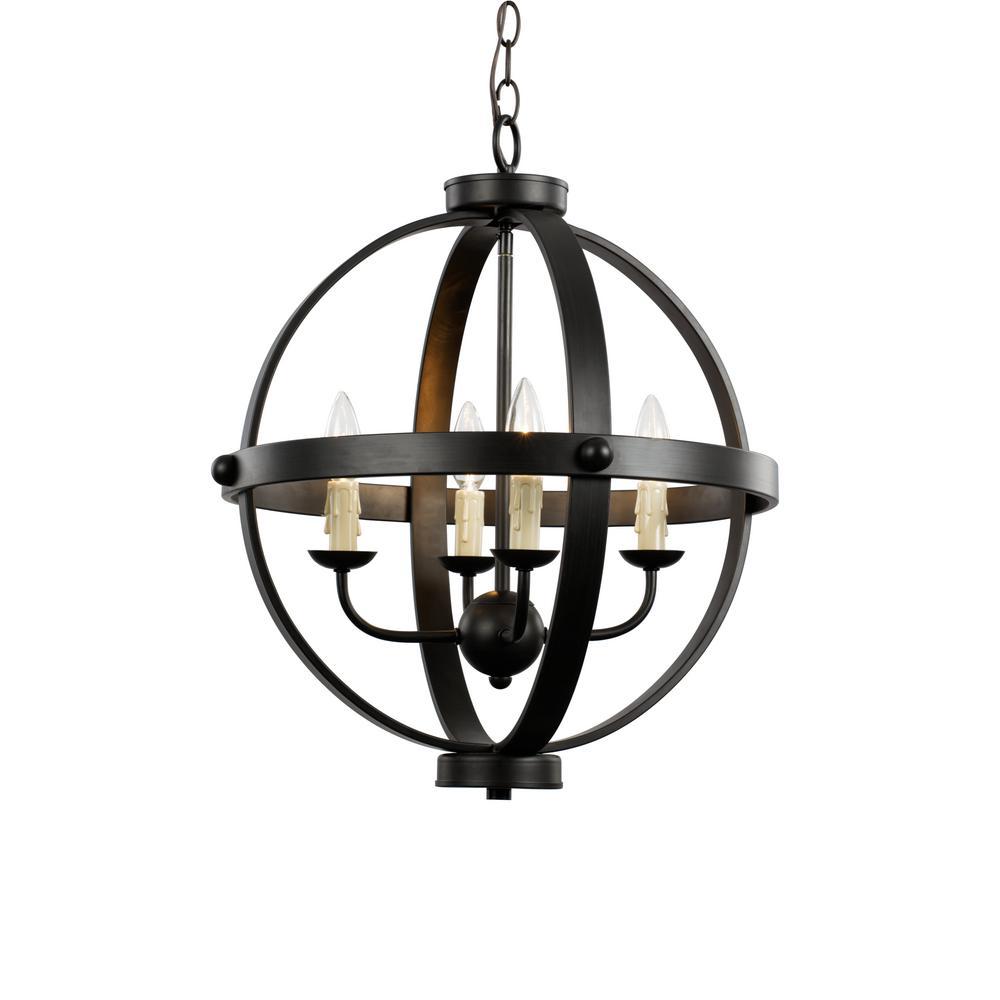 4-Light Rubbed Oil Bronze Pendant