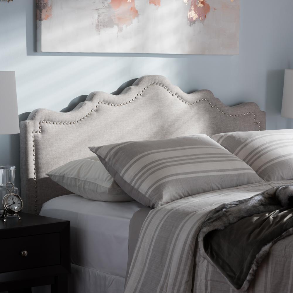 Nadeen Greyish Beige Fabric Upholstered Full Size Headboard