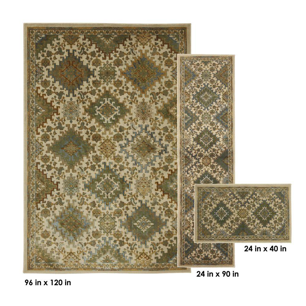 Mohawk Home Ankara Sandstorm 8 ft. x 10 ft. 3-Piece Rug Set