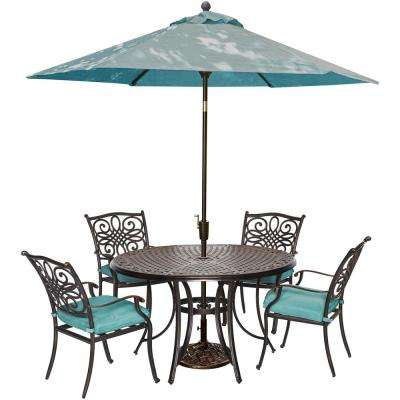 Traditions 5-Piece Outdoor Round Patio Dining Set and Umbrella and Base with Blue Cushions