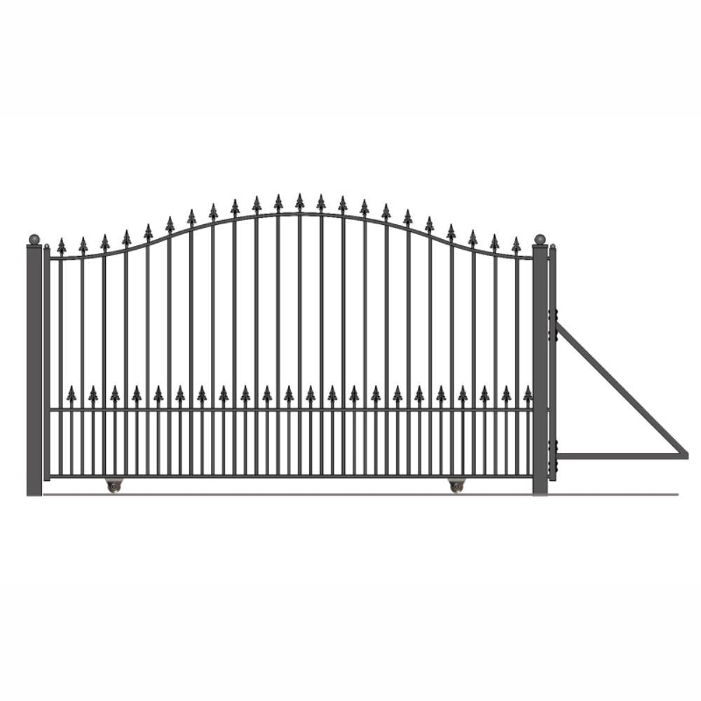 Munich Style 14 ft. x 6 ft. Black Steel Single Slide Driveway Fence Gate