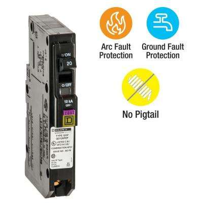 QO 20 Amp Single-Pole Plug-On Neutral Dual Function (CAFCI and GFCI) Circuit Breaker