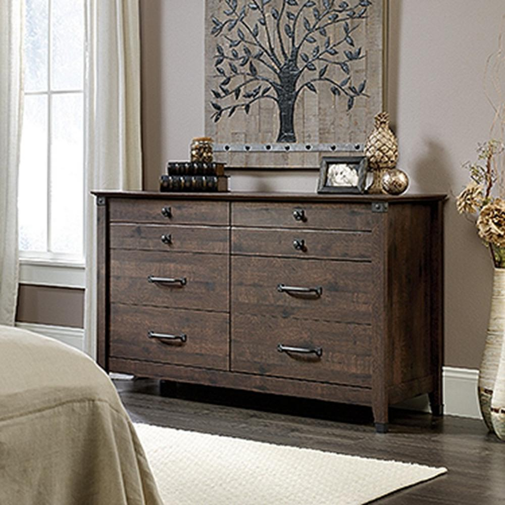 Sauder Carson Forge 6 Drawer Coffee Oak Dresser 419082 The Home Depot