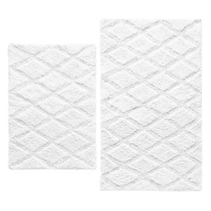 Tufted Diamond White Cotton 2-Piece Rug Set