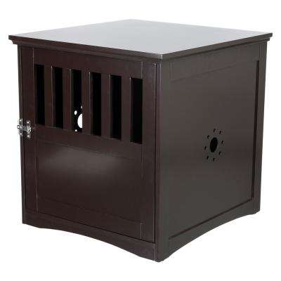 19 in. x 20 in. x 20 in. Coffee Table Style Indoor Wooden Pet Home in Brown