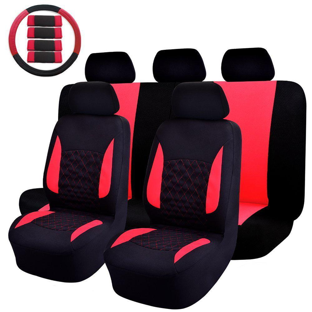 47 In X 23 In X 1 In Car Seat Cover Universal Fit Full Set Sports Fabric Seat Cover Red Black 14 Piece