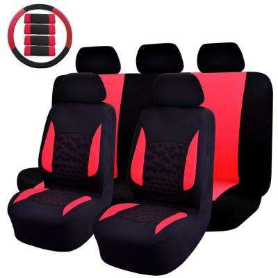 47 in. x 23 in. x 1 in. Car Seat Cover Universal Fit Full Set Sports Fabric Seat Cover Red/Black (14-Piece)