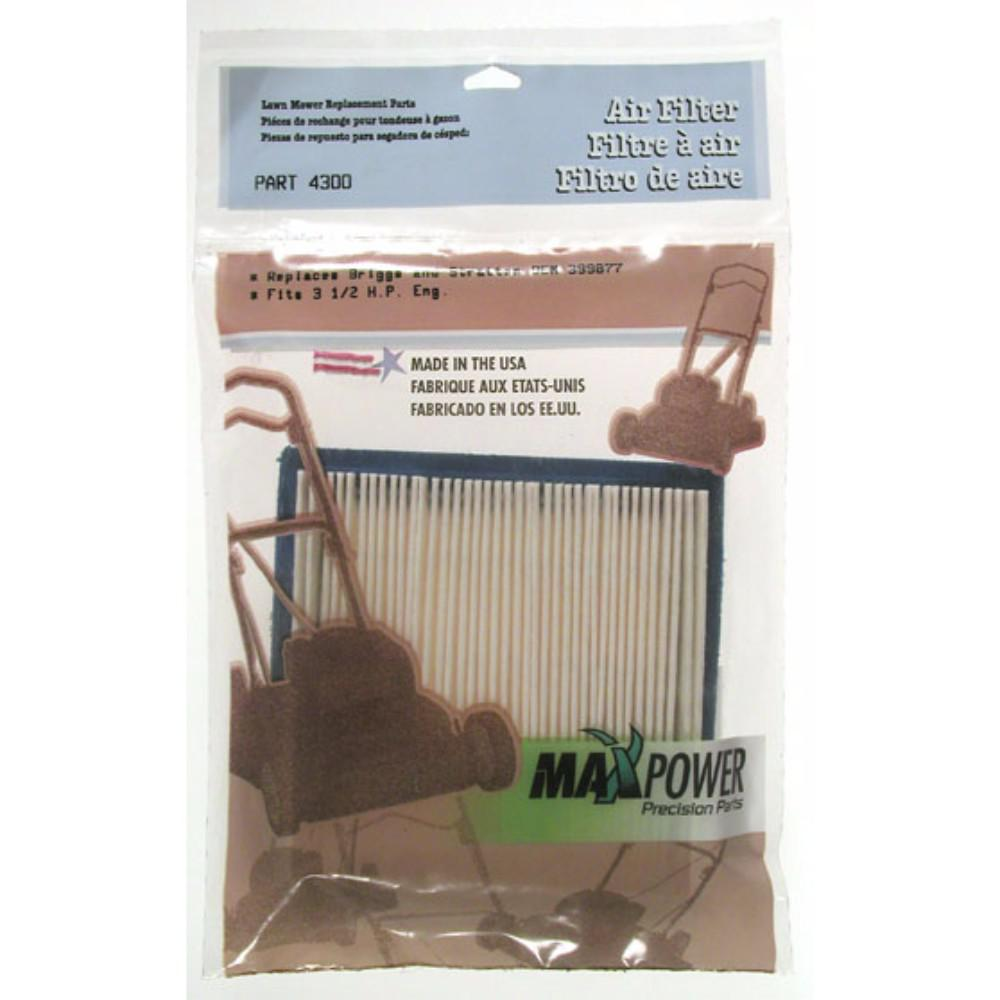 Maxpower Lawn Mower Air Filter Maintain your lawn mower in peak condition by upgrading to the Maxpower 334300 Briggs and Stratton 399877 Air Filter. This premium air filter fits 3.5 HP Briggs and Stratton lawn mower engines, keeping them clean from damaging dirt, particles, and contaminants. Lengthen the life of your mower by upgrading to this reliable filter that increases the air flow for better performance.