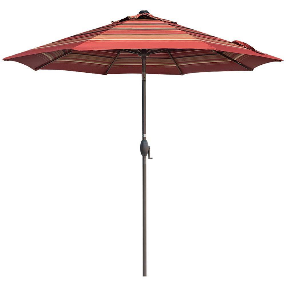 9 ft. Aluminum Market Auto Tilt and Crank Patio Umbrella in Red Stripe
