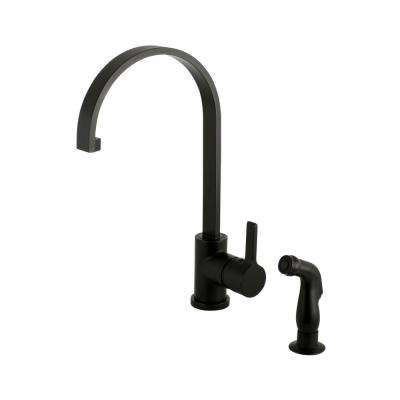 Modern Single-Handle Standard Kitchen Faucet with Side Sprayer in Matte Black