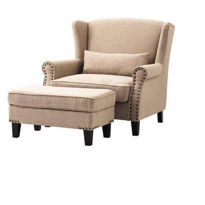 Zoey Dark Beige Linen Arm Chair with Ottoman