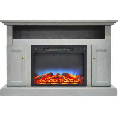 Kingsford 47 in. Electric Fireplace with Multi-Color LED Insert and Entertainment Stand in Gray