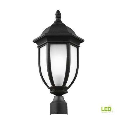 Galvyn 1-Light Outdoor Black Post Light with LED Bulb