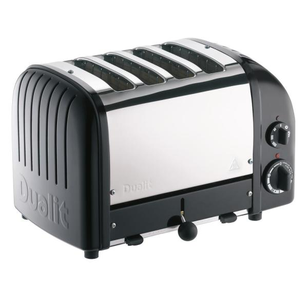 New Gen 4-Slice Matte Black Wide Slot Toaster with Crumb Tray