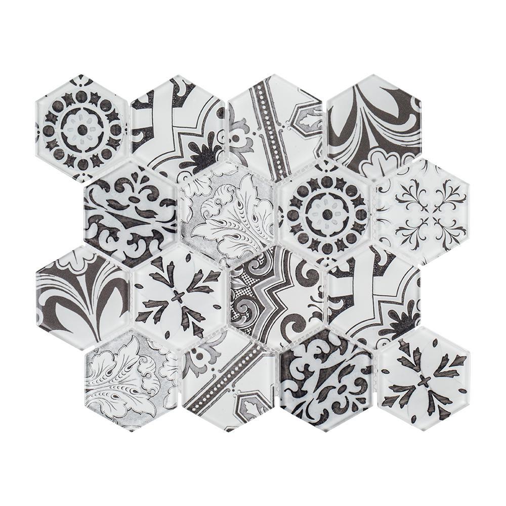 Morris Block 10-3/8 in. x 12 in. x 6 mm Glass Mosaic Tile
