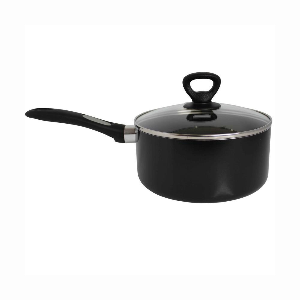 3 qt. Aluminum Nonstick Sauce Pan in Black