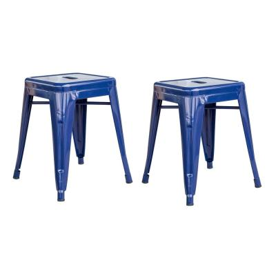 Loft Style 18 in. Blue Stackable Metal Bar Stool (Set of 2)