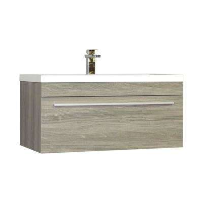 Ripley 35.25 in. W x 18.75 in. D x 17.5 in. H Vanity in Gray with Acrylic Vanity Top in White with White Basin
