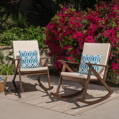 Gus Dark Brown Wood Outdoor Rocking Chairs with Cream Cushions (2-Pack)