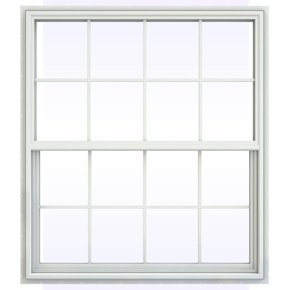 JELD-WEN 47.5 in. x 41.5 in. V-4500 Series Single Hung Vinyl Window with Grids - White