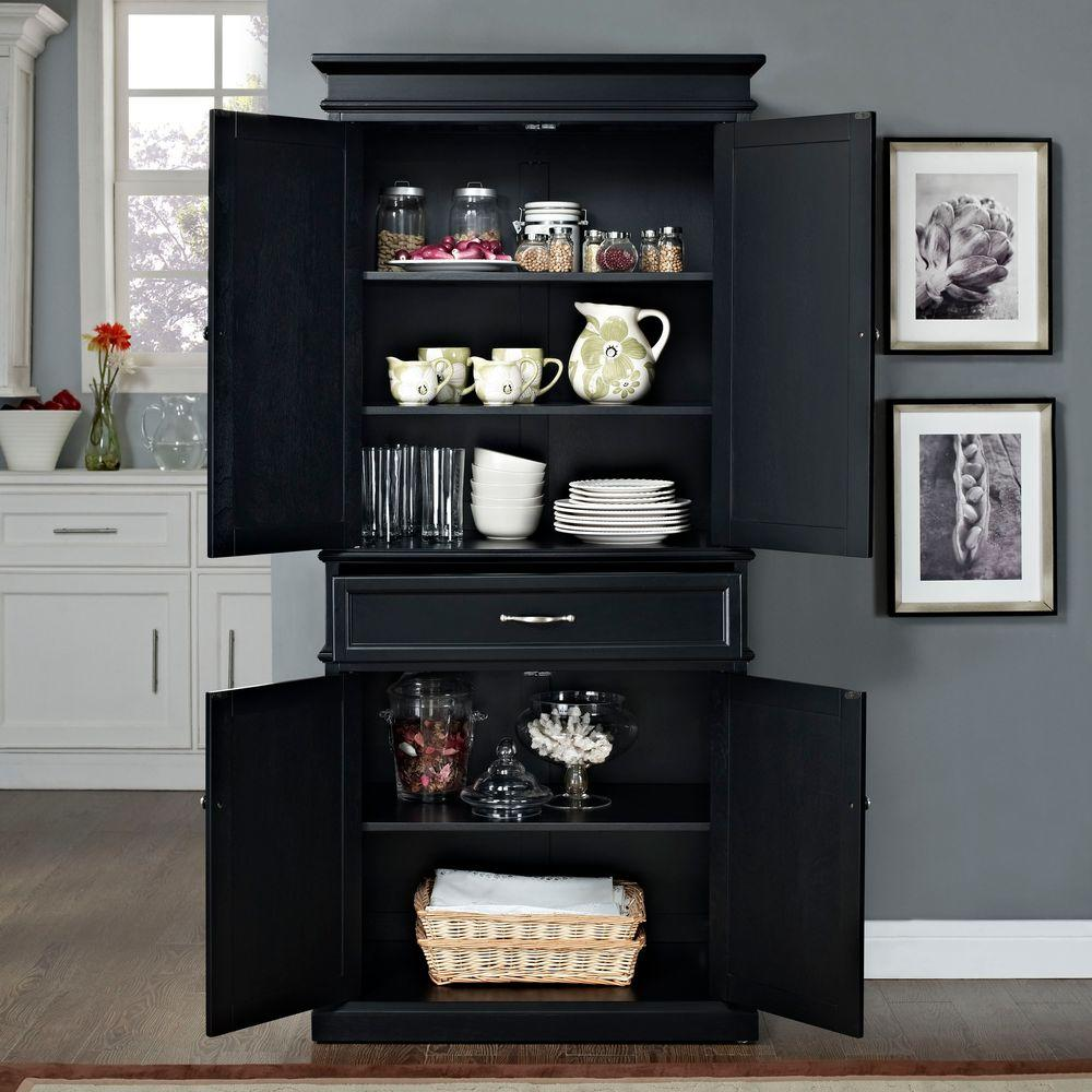 black kitchen pantry cabinet crosley parsons black storage cabinet cf3100 bk the home 12404