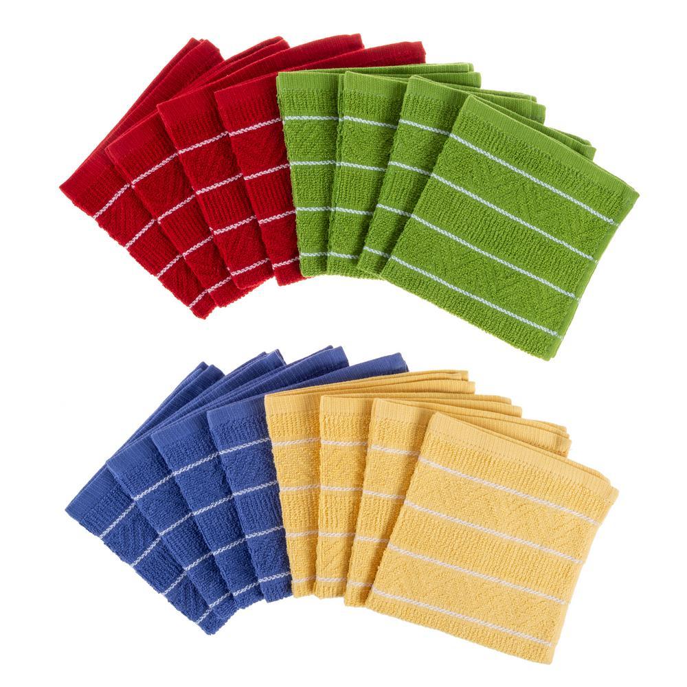 Multi-Color Chevron Weave Cotton Kitchen Dish Cloth Set (16-Pieces)