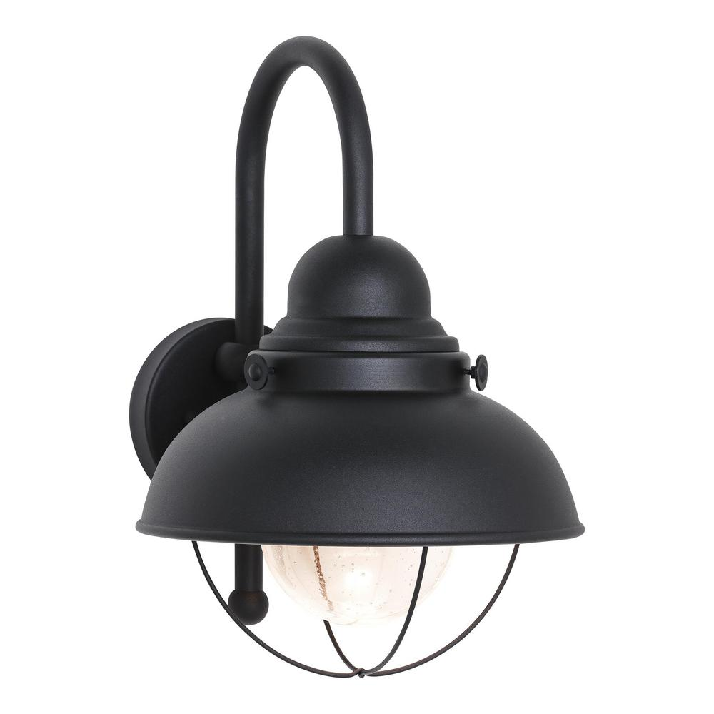 Sebring Black Outdoor Integrated LED Wall Mount Lantern