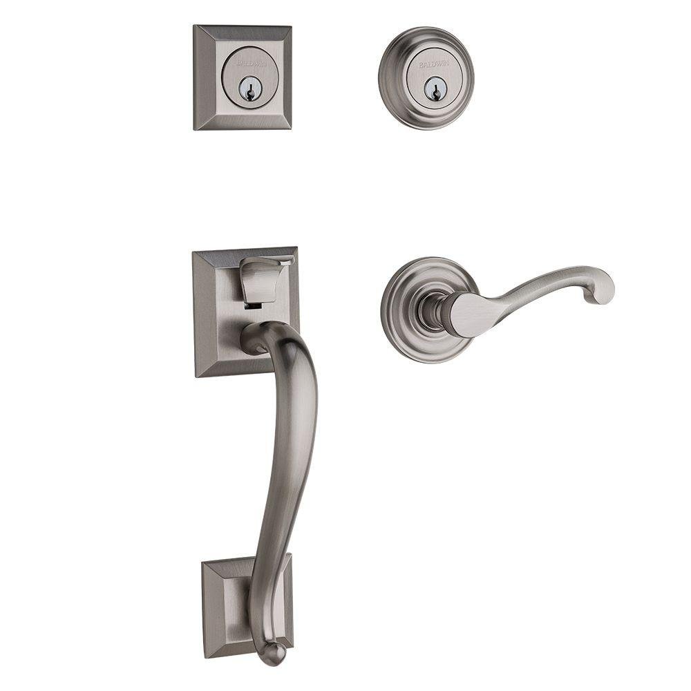 Baldwin Madison Double Cylinder Satin Nickel Left-Handed Handleset with Classic Lever