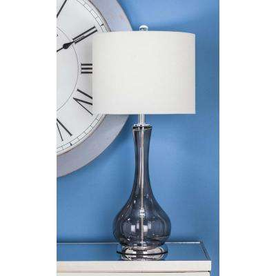 27 in. x 13 in. Modern Smoked Gray Glass Table Lamp