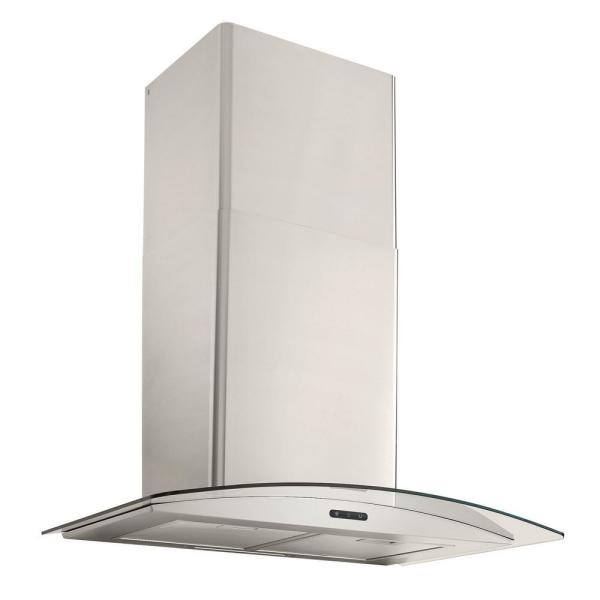 36 in. Convertible Wall Mount Curved Glass Chimney Range Hood with LED Light in Stainless Steel