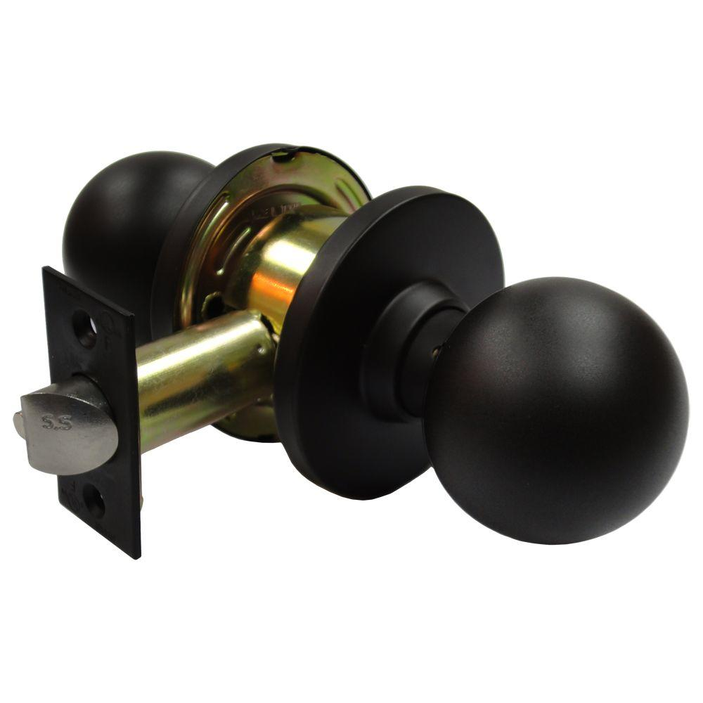 Arctek 2-3/4 in. Cylindrical Ball Oil-Rubbed Bronze Passage Knob with Latch