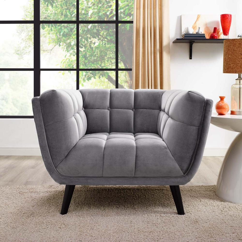 Bestow Velvet Armchair in Gray