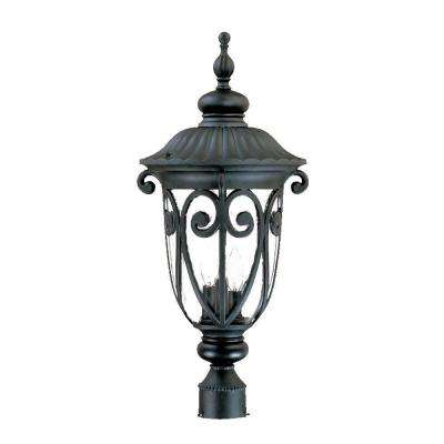Naples 3-Light Matte Black Outdoor Post-Mount Light Fixture