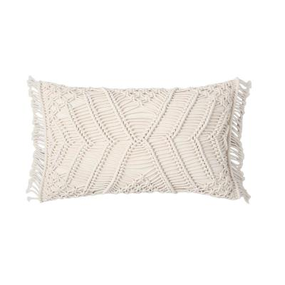 Shahi 12 in. x 20 in. Hand Crafted Crochet Ivory Standard Throw Pillow