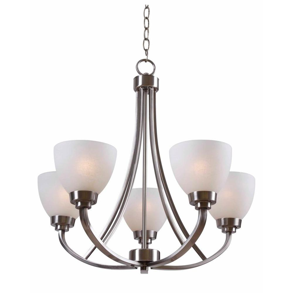 Hampton Bay Hastings 5 Light Brushed Steel Chandelier With White Glass Shades