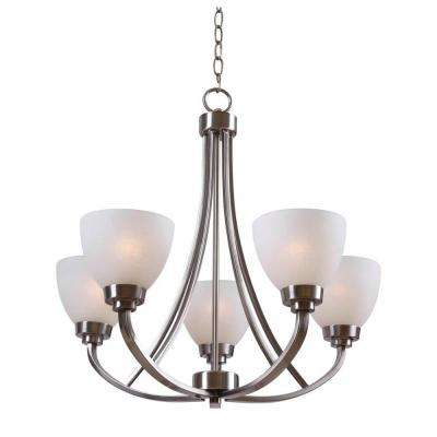 Hastings 5-Light Brushed Steel Chandelier with White Glass Shades