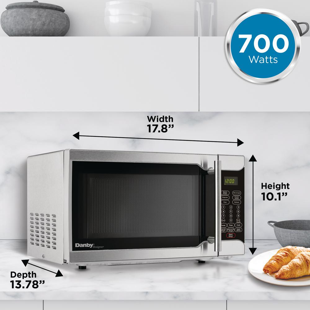 Danby Designer 0 7 Cu Ft Countertop Microwave In Stainless Steel