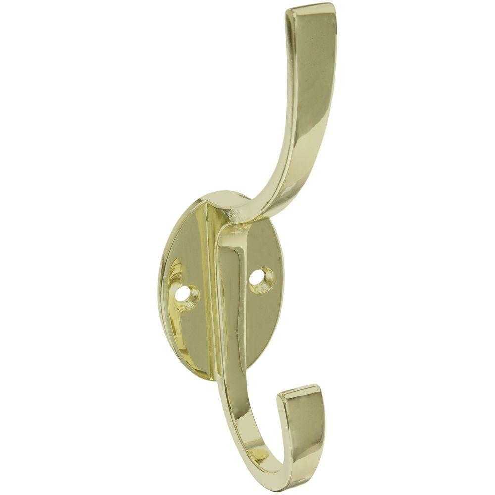 Stanley-National Hardware 5-1/2 in. Polished Brass Modern Coat and Hat Hook