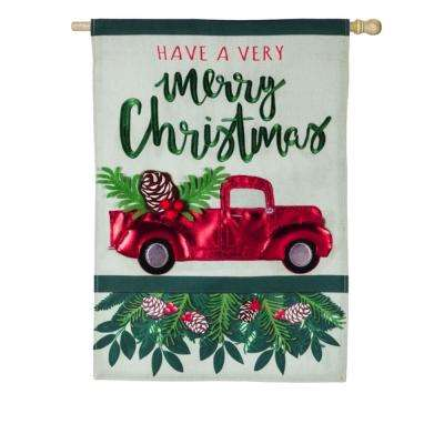 28 in. x 44 in. Holiday Red Truck House Linen Flag