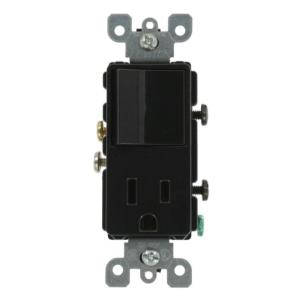 leviton 15 amp commercial grade combination single pole toggle 15 amp decora commercial grade combination single pole rocker switch and receptacle black